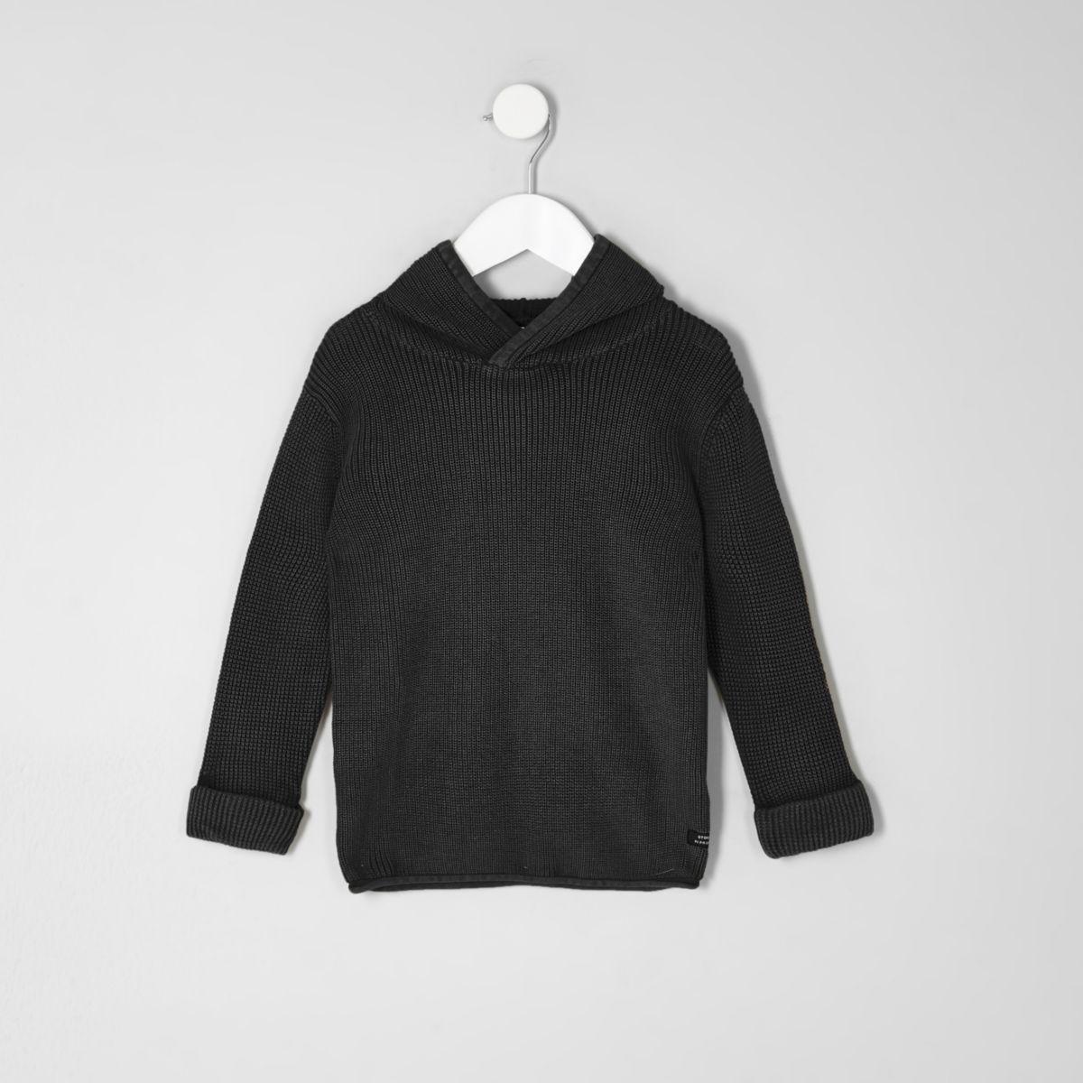 Mini boys washed black rib knit hooded jumper