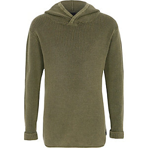 Boys khaki washed rib knit hooded sweater