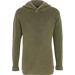 Kaki geribbelde gebreide washed pullover met capuchon voor jongens