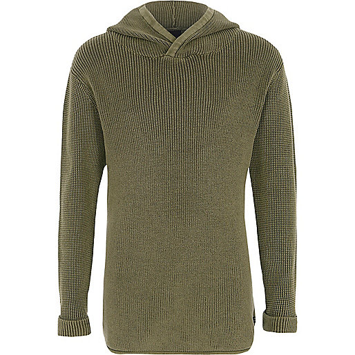 Boys khaki washed rib knit hooded jumper