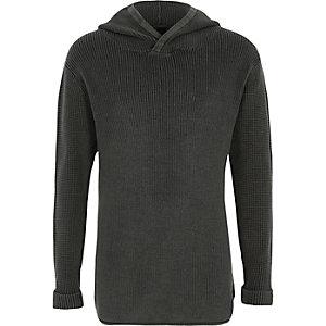 Zwarte geribbelde gebreide washed pullover met capuchon voor jongens