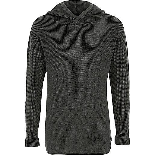 Boys black washed ribbed knit hooded jumper