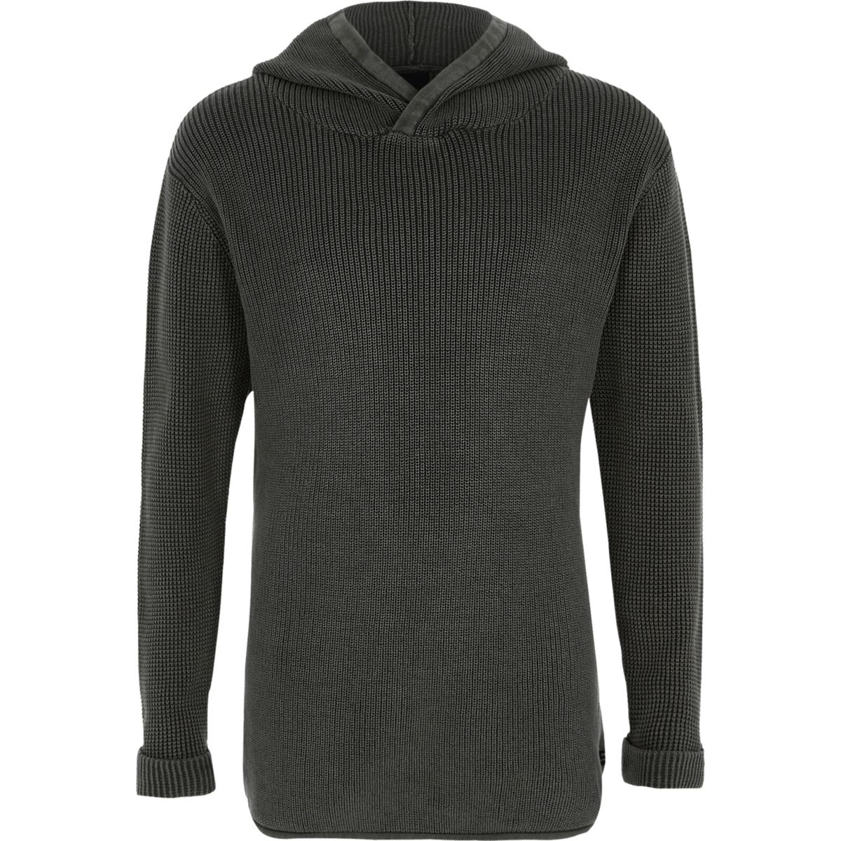 Boys black washed ribbed knit hooded sweater