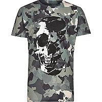 Boys green camo skull print T-shirt