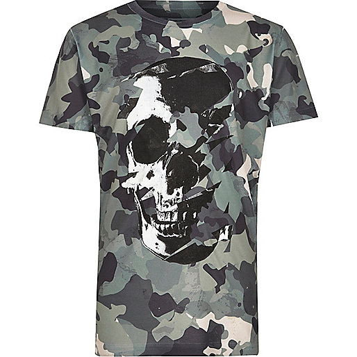 Boys green camo skull print T-shirt
