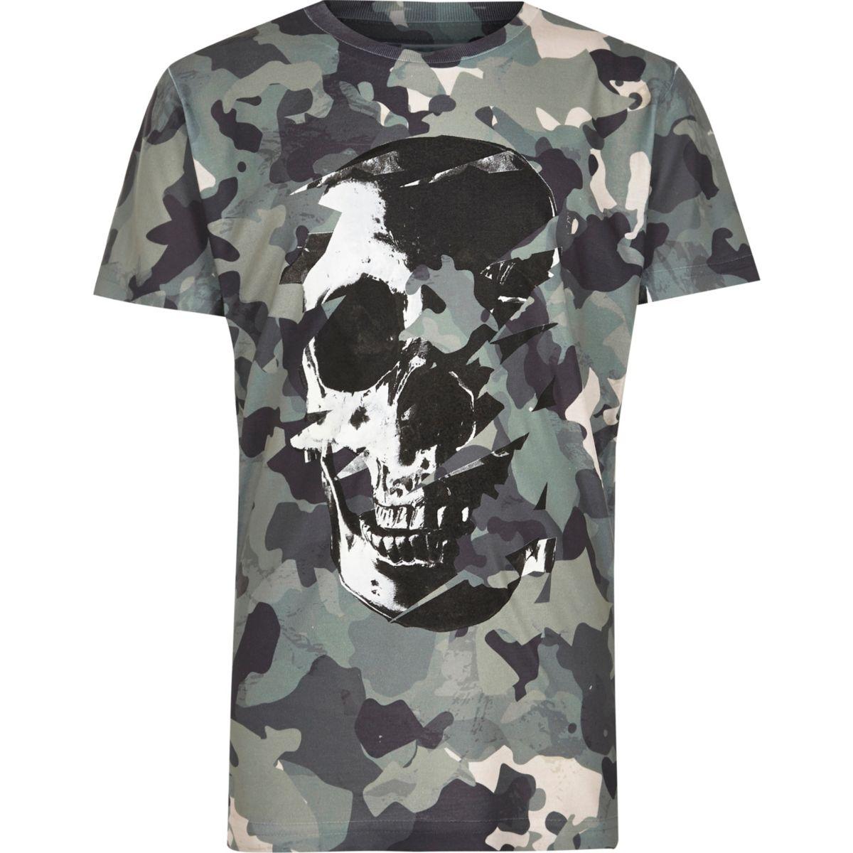 Boys green camo skull print t shirt tops sale boys for Camo print t shirt