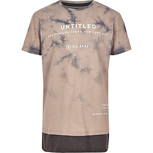 Boys brown tie dye 'untitled' print T-shirt
