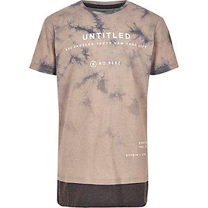 Boys brown tie dye 'untitled' print T-shirt