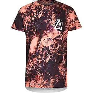 Boys orange tie dye print T-shirt