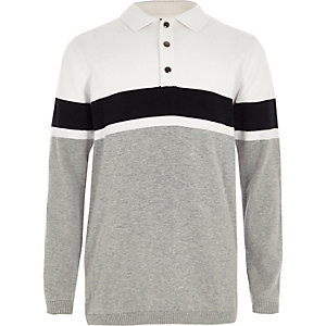 Boys white block stripe knit rugby shirt