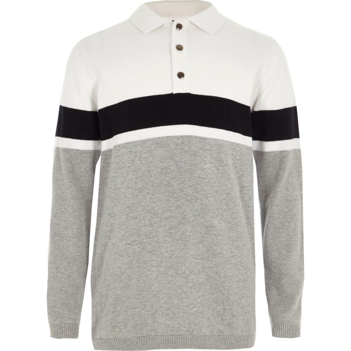 Boys white block stripe knit rugby shirt