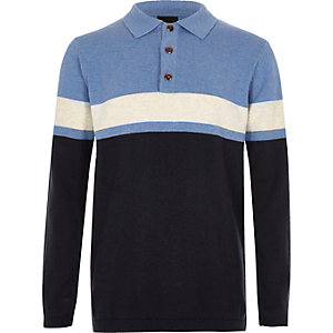 Boys blue block stripe knit rugby shirt