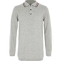 Boys grey tipped collar knit polo shirt