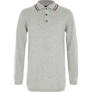 Polo en maille gris avec col à bordure colorée pour garçon