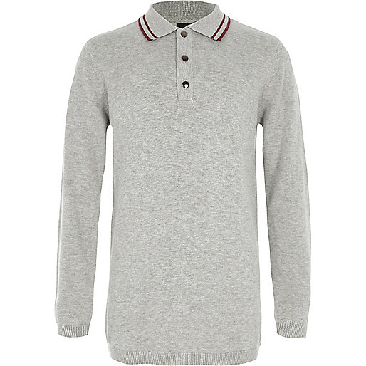 Boys grey tipped collar knit polo shirt