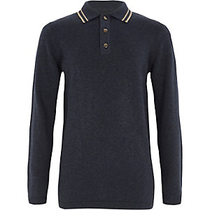 Boys navy tipped collar knit polo shirt