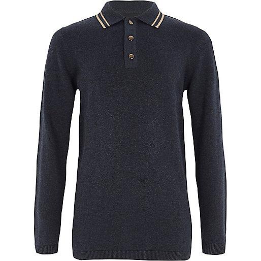 Boys navy tipped collar knit polo shirt