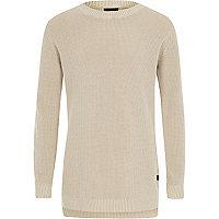Boys stone washed waffle knit sweater
