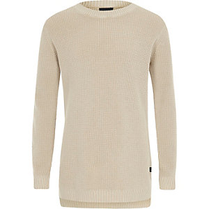 Boys stone washed waffle knit jumper