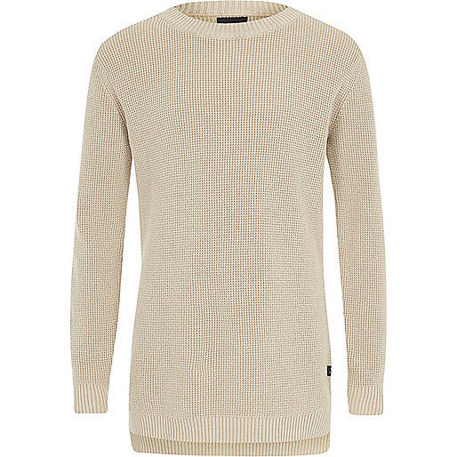 Boys stone washed waffle knit sweater