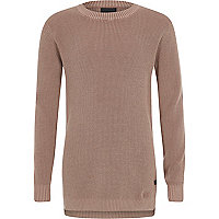 Boys pink washed waffle knit sweater