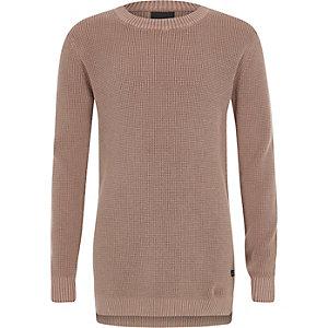 Roze gebreide washed pullover met wafeldessin voor jongens