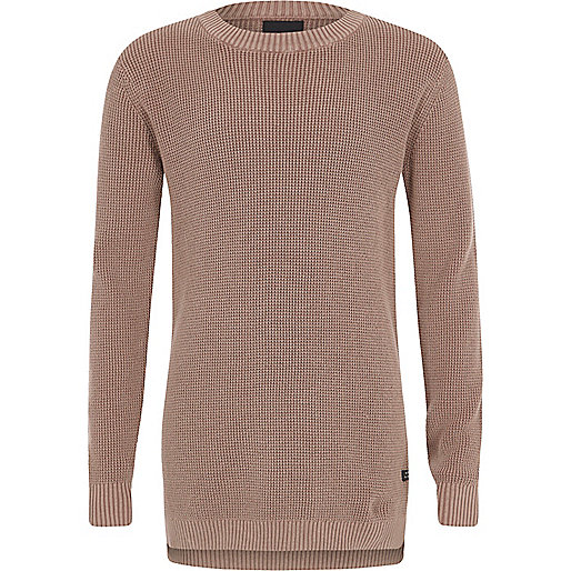 Boys pink washed waffle knit jumper