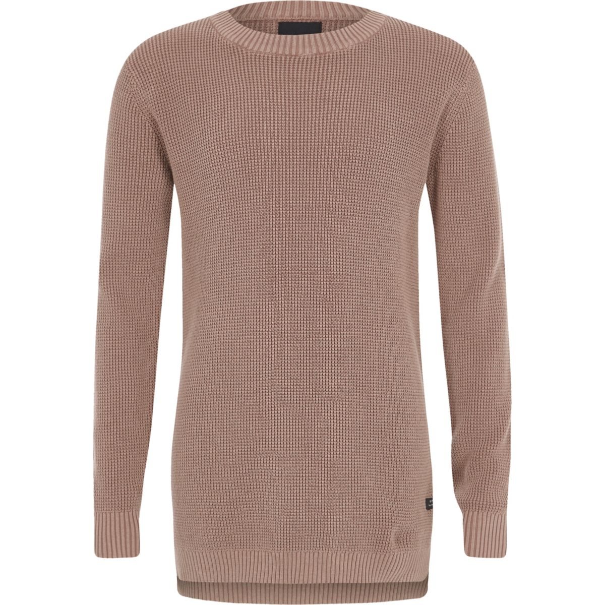 Boys pink washed waffle knit jumper