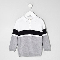 Mini boys white block stripe knit rugby shirt