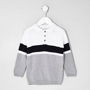Mini - Wit gebreid rugbyshirt met dikke streep voor jongens