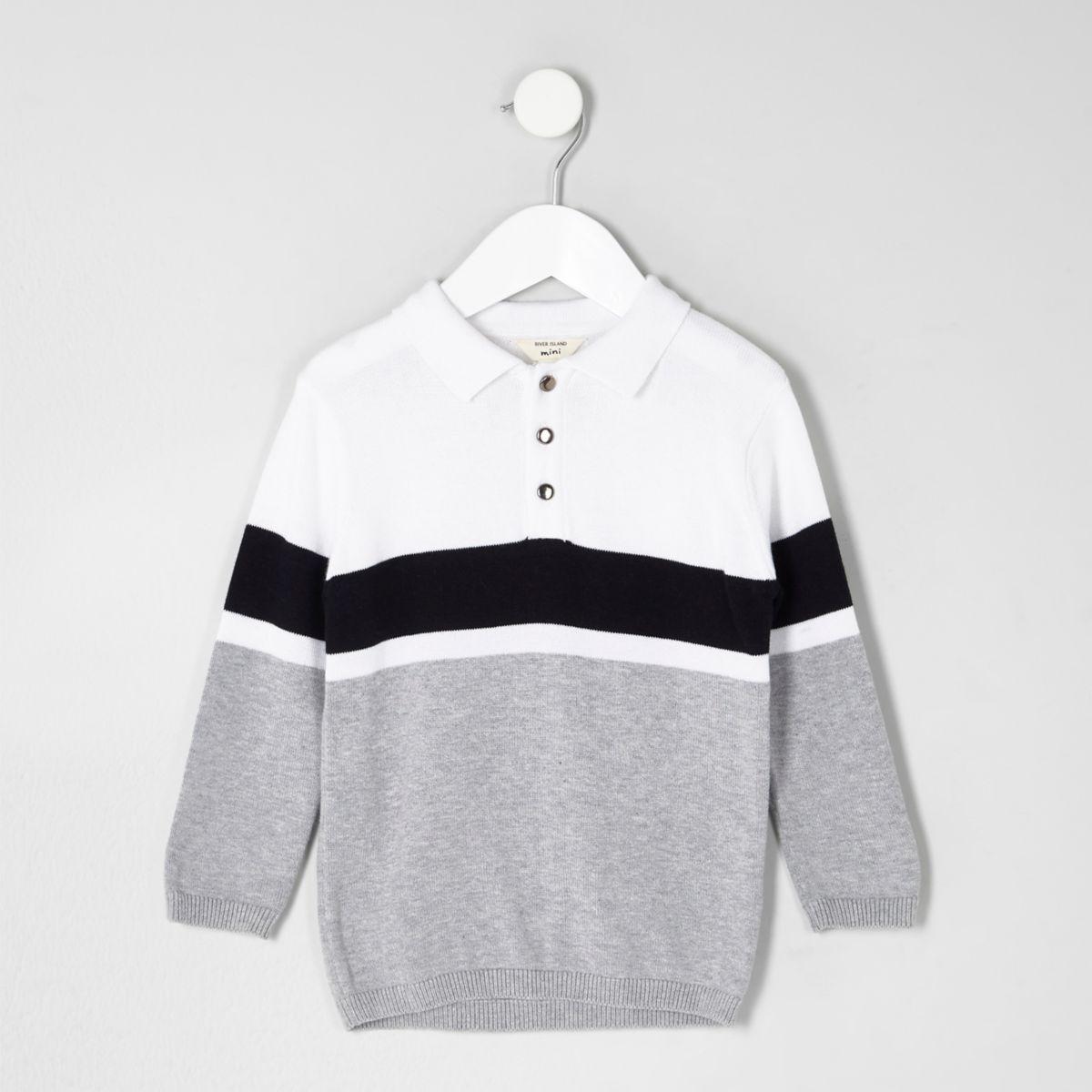 Mini boys white block stripe knit rugby shirt