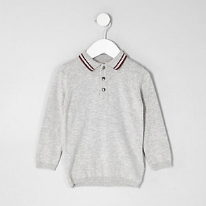 Mini boys grey tipped collar knit polo shirt