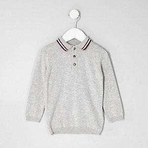 Mini boys grey tipped collar knit polo shirt