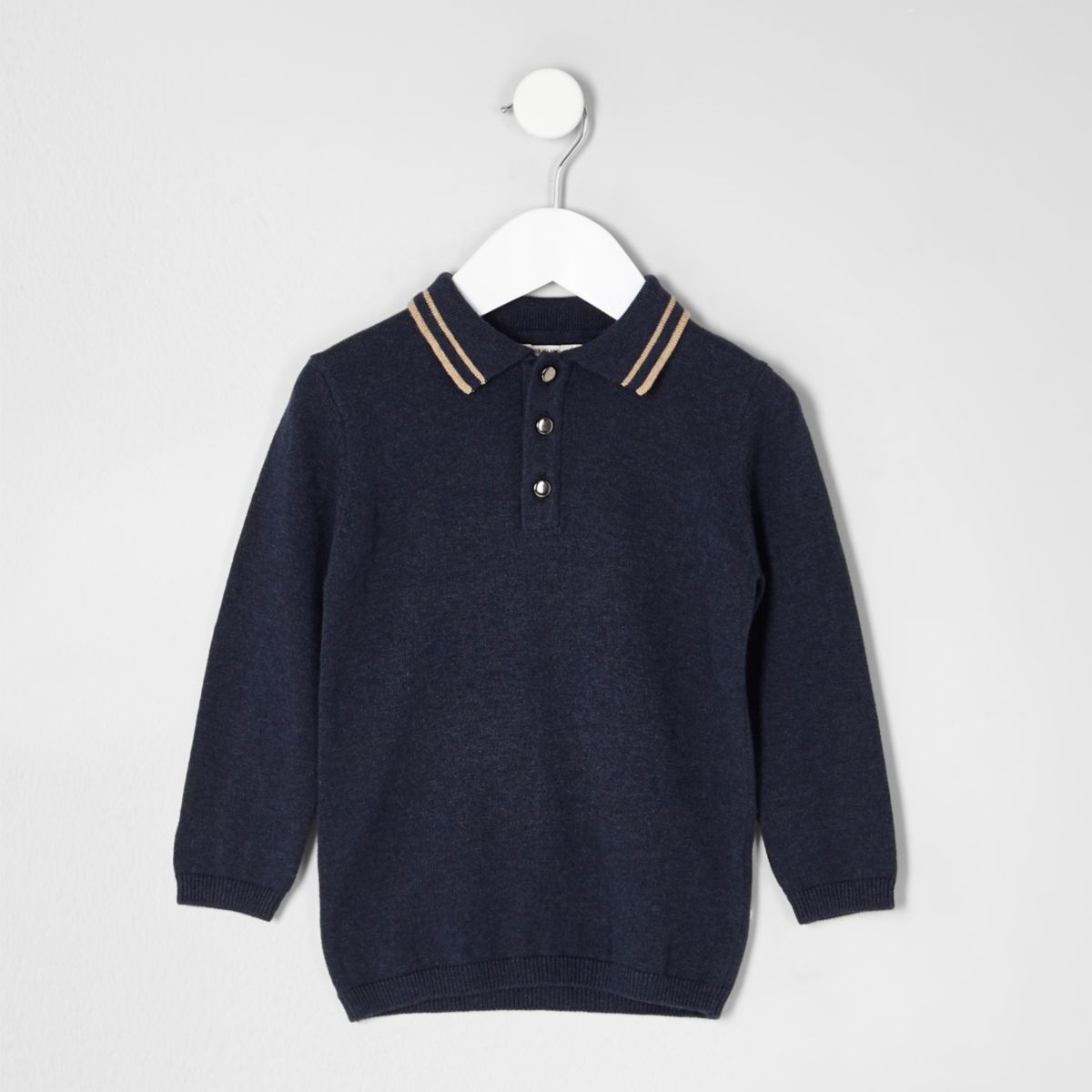 Mini boys navy tipped collar knit polo shirt