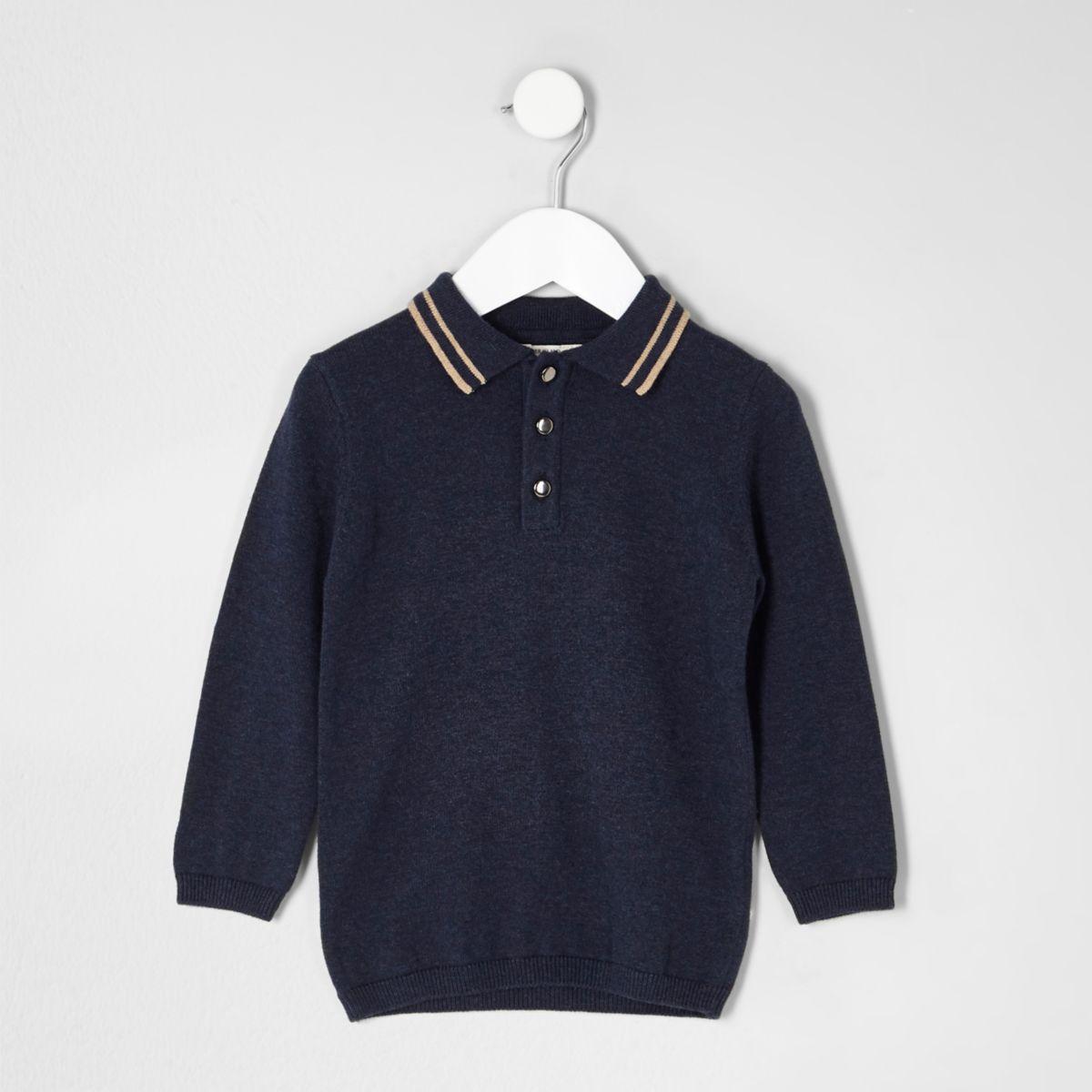 Mini boys navy tipped collar knit polo shirt