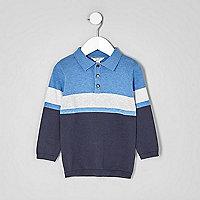 Mini boys blue block stripe knit rugby shirt