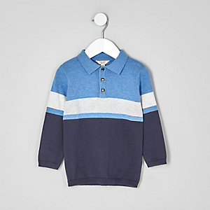 Mini boys blue block stripe knit rugby shirt