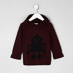 Mini - Rode gebreide pullover met robotprint en capuchon voor jongens
