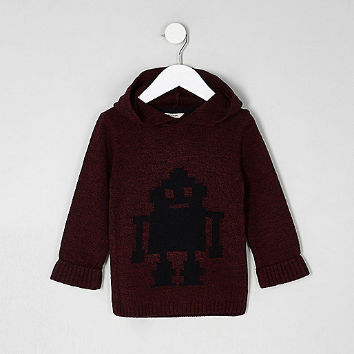 Mini boys red knit robot hooded jumper