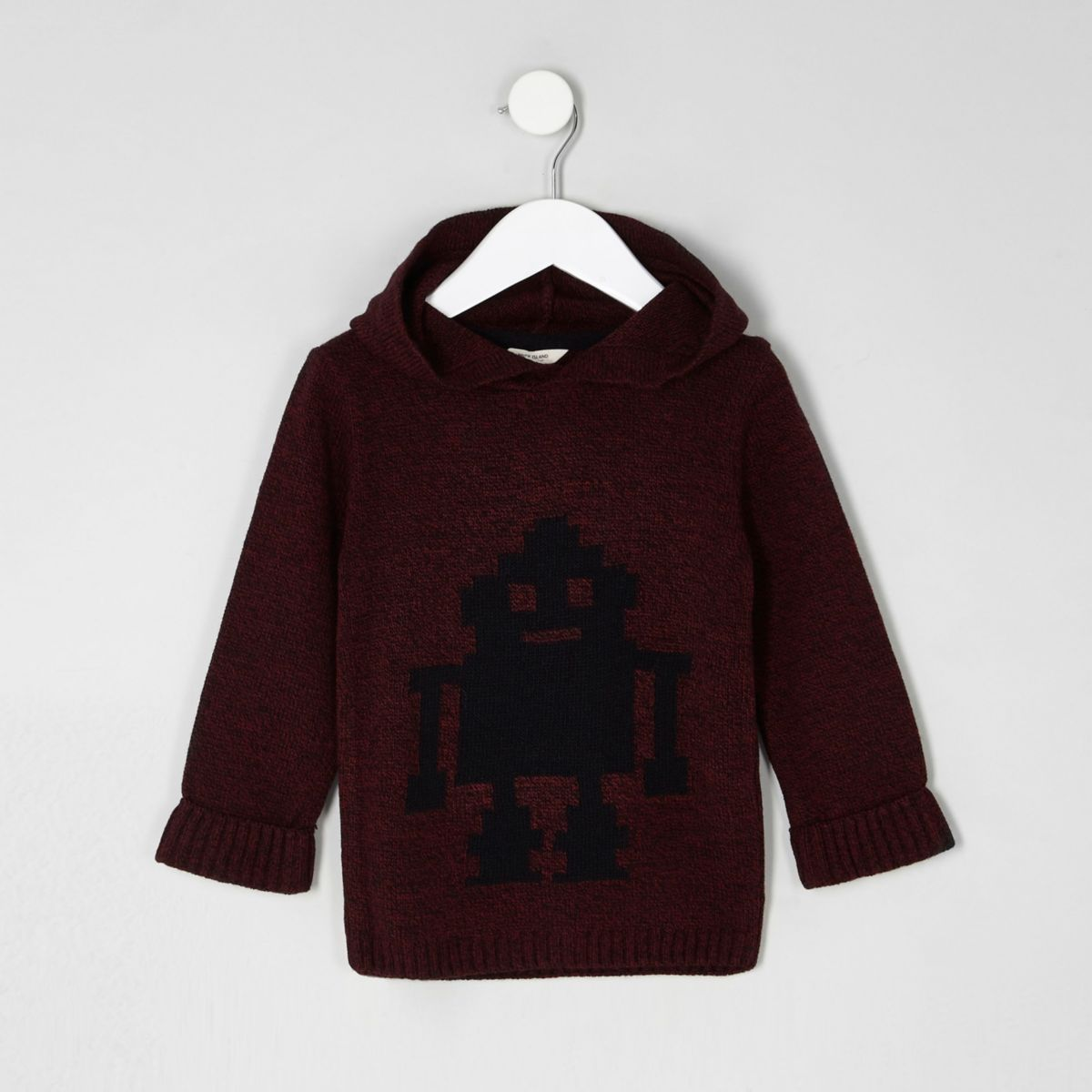 Mini boys red knit robot hooded sweater