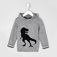 Mini boys grey knit dinosaur hooded jumper