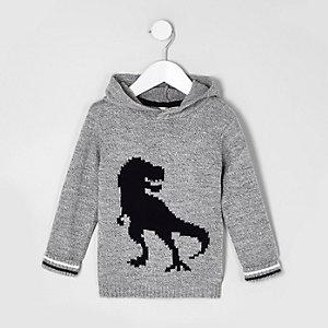 Mini - Grijze gebreide pullover met dinosaurusprint en capuchon voor jongens