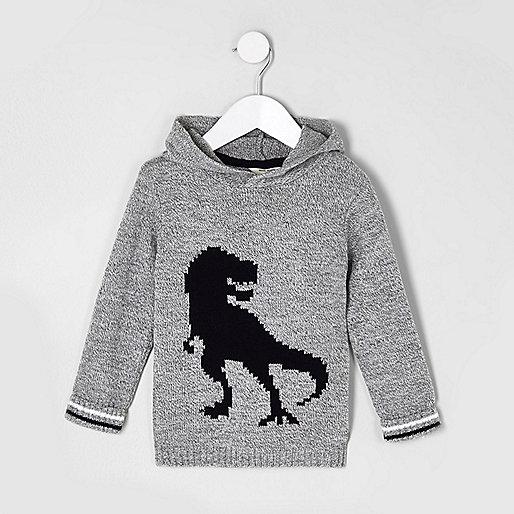 Mini boys grey knit dinosaur hooded jumper