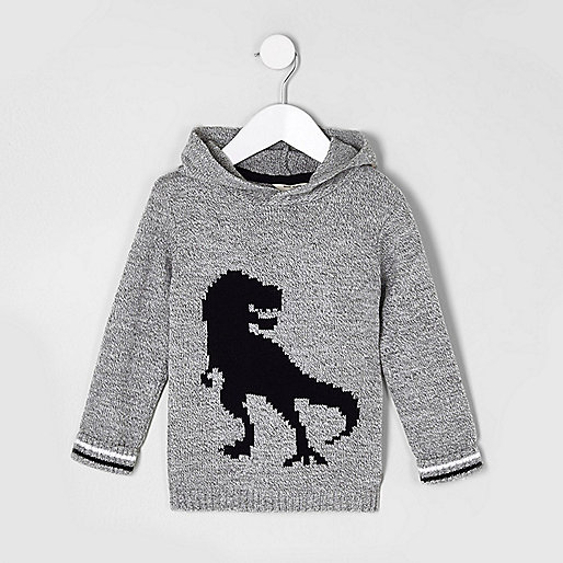 Mini boys grey knit dinosaur hooded sweater
