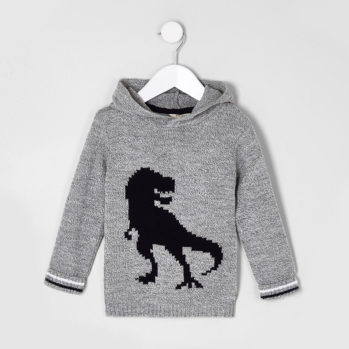 Mini boys grey knit dinosaur hooded sweater