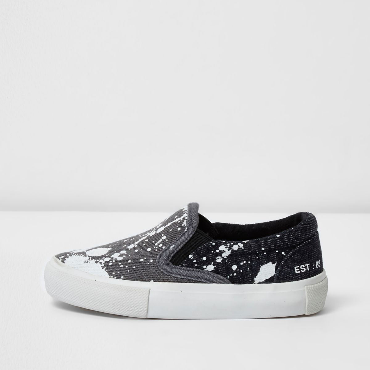 Mini boys grey paint splat slip on plimsolls