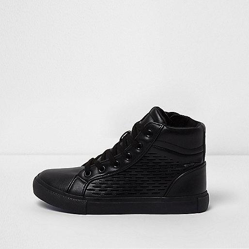 Boys black laser cut hi top sneakers