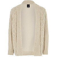 Boys cream cable knit cardigan