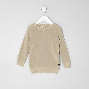 Mini -Kiezelkleurige gebreide washed pullover met wafeldessin voor jongens