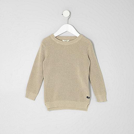 Mini boys stone washed waffle knit jumper